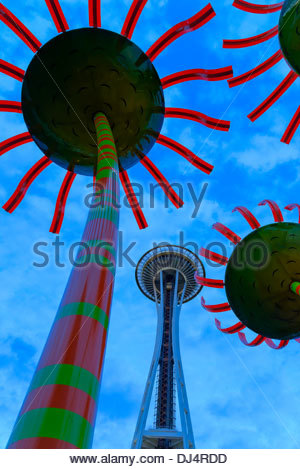 Sonic Bloom harmonic sound sculpture and Space Needle, Seattle Centre, Seattle, Washington State, USA - Stock Photo