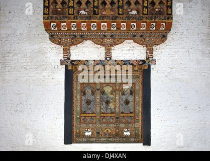 ornate window, Phunaka Dzong, Bhutan - Stock Photo