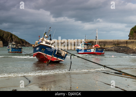 Fishing boat in the harbour of Port Isaac Cornwall - Stock Photo