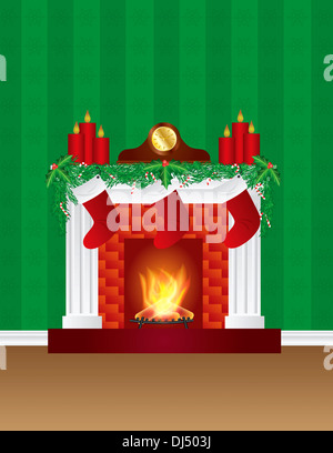 Fireplace with Christmas Decoration Garland Stockings Candles Mantel Clock with Wallpaper Background Illustration - Stock Photo