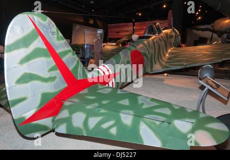 Washington, Seattle, The Museum of Flight, Nakajima Ki-43-IIIa Hayabusa reproduction, WWII Japanese fighter - Stock Photo
