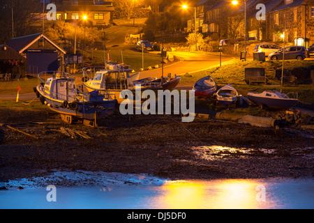 Craster harbour at dusk, Northumberland, UK. - Stock Photo