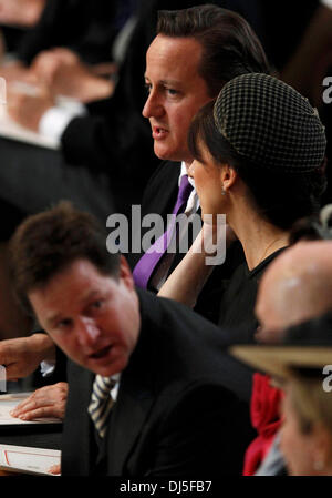 Britain's Prime Minister David Cameron (top), his wife Samantha (C) and Deputy Prime Minister Nick Clegg (bottom) attend a thanksgiving service to mark the Queen's Diamond Jubilee at St Paul's Cathedral in central London June 5, 2012. Four days of nationw Stock Photo