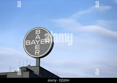 Bitterfeld-Wolfen, Germany. 22nd Oct, 2013. View of the logo of German chemical and pharmaceutical company Bayer - Stock Photo