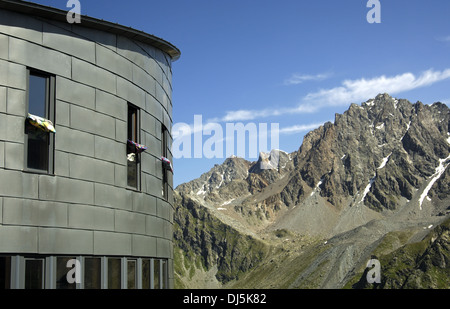 mountain shelter in the Alps, Switzerland - Stock Photo