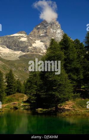 Cervino, Matterhorn peak in Breuil-Cervinia, Valtournenche, Aosta valley, Italy - Stock Photo