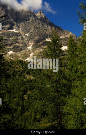 Cervino / Matterhorn peak in Breuil-Cervinia, Valtournenche, Aosta valley, Italy - Stock Photo