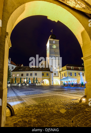 council tower in sibiu (hermannstadt), transylvania, romania, at night - Stock Photo