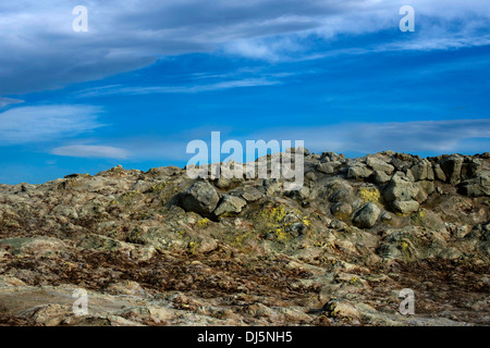 Mineral deposits in Namaskard, Volcanic area, IcelandThe area is characterized by boiling mud-bogs and solfataras. - Stock Photo