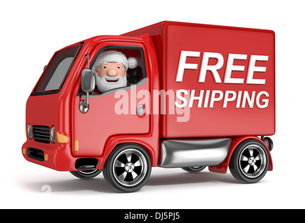 3d cartoon santa claus in truck - Stock Photo