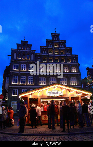 Square Am Sande, Christmas market, Lueneburg,  Lüneburg, Lower Saxony, Germany - Stock Photo
