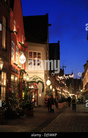 Christmas trees at Heiligengeiststrasse, Lueneburg, Lüneburg, Lower Saxony, Germany - Stock Photo