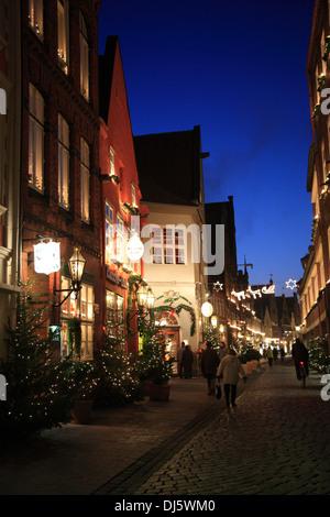 Christmas trees at Heiligengeiststrasse, Lueneburg, Lower Saxony, Germany - Stock Photo
