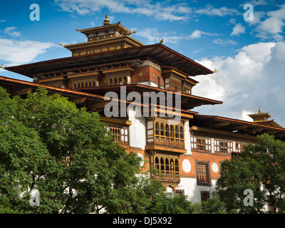Bhutan, Punakha Dzong, Monastery prayer hall tower, decorated wooden structure - Stock Photo