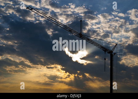 Crane before cloud formation - Stock Photo