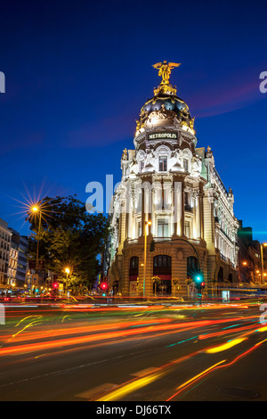 Rays of traffic lights on Gran via in Madrid at night. Spain, Europe. - Stock Photo