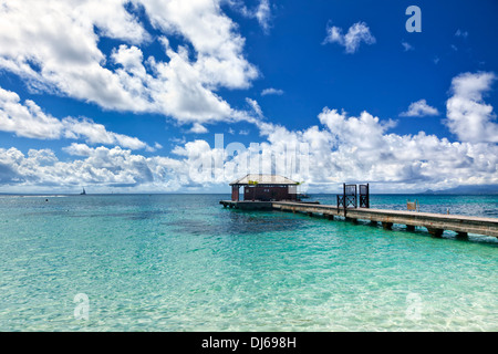 Jetty at tropical beach, Guadeloupe - Stock Photo