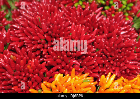 Abstract view of chilies on sale at the Rialto Market in Venice, Italy. - Stock Photo