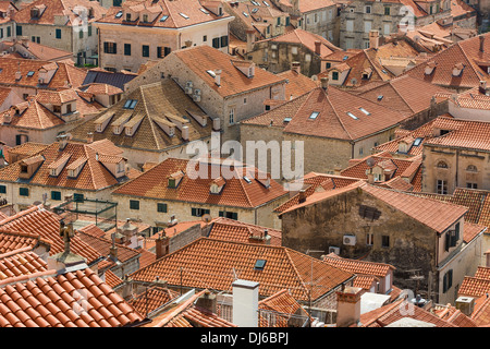 Closeup view of Dubrovnik rooftops with characteristic orange tiles. - Stock Photo