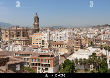 The view across the rooftops of Malaga as seen from the alcazaba - Stock Photo