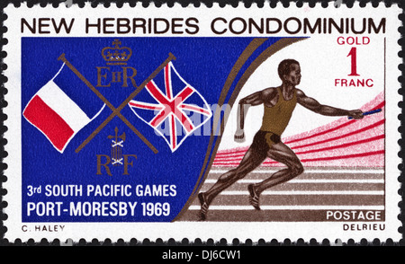 postage stamp New Hebrides Condominium 1F featuring 3rd South Pacific Games Port Moresby 1969 dated 1969 - Stock Photo