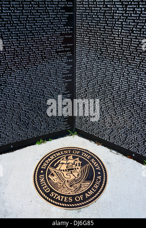 Names of members of US Navy who have died in Iraq and Afghanistan on Gulf War memorial, Cumberland , Maryland , - Stock Photo