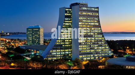 Brazil, Porto Alegre: Nocturnal view of illuminated  Administration Center of Rio Grande do Sul with lake Guaíba - Stock Photo