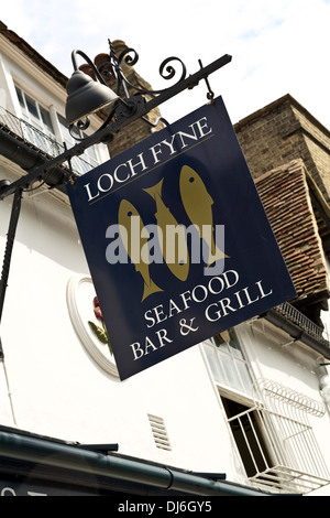 Loch Fyne seafood bar & grill restaurant sign in Trumpington Street, Cambridge, England - Stock Photo