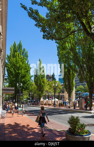 Southwest Morrison Street at Pioneer Square in downtown Portland, Oregon, USA - Stock Photo