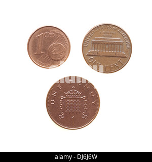 One Euro cent One Dollar cent One Penny coins - Stock Photo