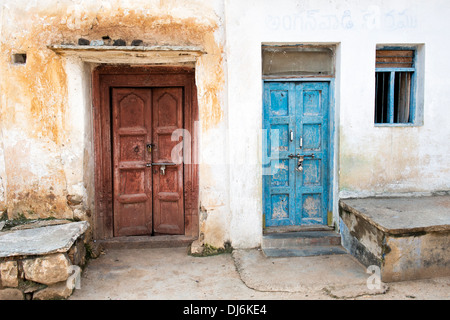 Old Wooden doors in an rural indian village. Andhra Pradesh, India - Stock Photo