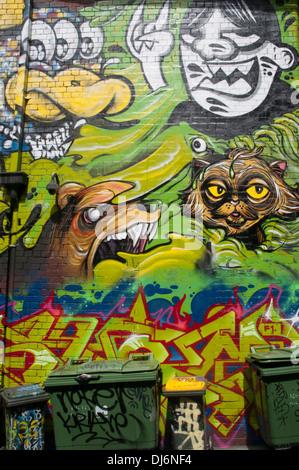 Street art in Hosier Lane, Melbourne, November 2013 - Stock Photo