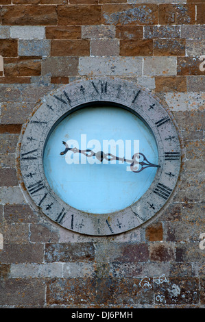 One-handed clock on St. Peter`s Church, Gaulby, Leicestershire, England, UK - Stock Photo