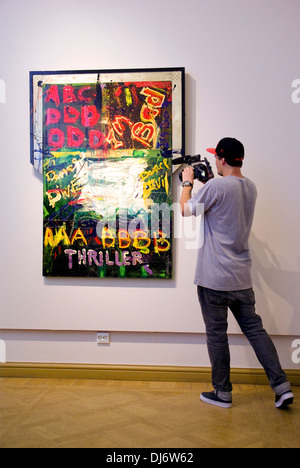 Russia. St. Petersburg. Exhibition of artwork by Sylvester Stallone in the Russian Museum. - Stock Photo