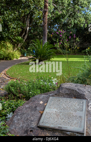 South Africa, Cape Town. Historical Marker, The Company's Garden, established in 1652. - Stock Photo