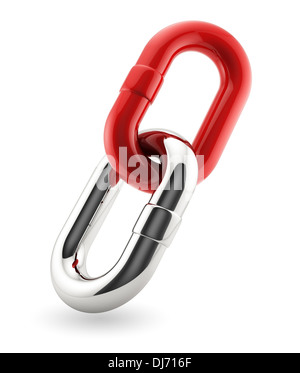 3d render of red and chrome chains. Bisiness concept - Stock Photo