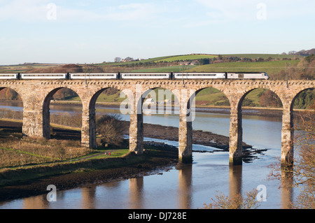 East coast express train crossing the Royal Border Bridge over the river Tweed, Berwick upon Tweed, Northumberland, - Stock Photo