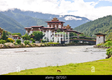Punakha Dzong,The head of the clergy of Bhutan with his entourage of Buddhist monks spend the winter in this Dzong,Surroundings - Stock Photo