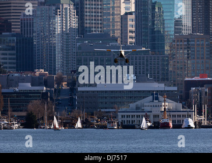 WASHINGTON - Kenmore Air seaplane on landing approach to Lake Union in Seattle. - Stock Photo