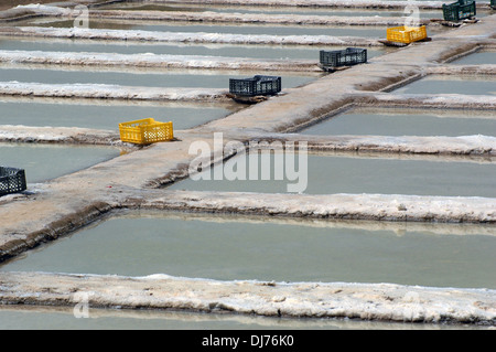 Salt pans ditches for premium quality sea salt situated on the Atlantic coastline within the protected 'Ria Formosa' - Stock Photo