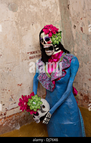 Decorations for Day of the Dead festival known in spanish as Día de Muertos in Oaxaca, Mexico. - Stock Photo