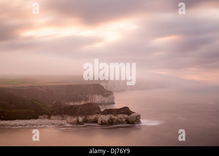View towards Bempton Cliffs from Thornwick Bay, West Yorkshire. - Stock Photo