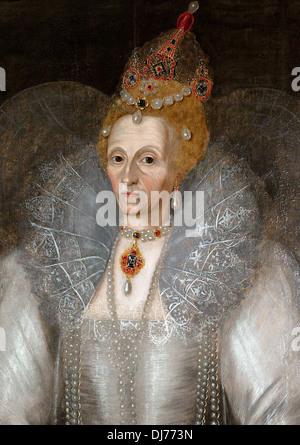 Realistic portrait of Queen Elizabeth I - Stock Photo