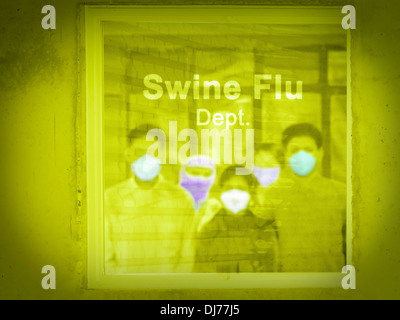 People outside Swine Flu department in a hospital, H1N1 - Stock Photo