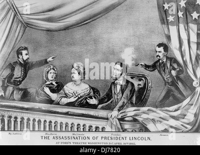 Assassination of President Lincoln at Ford's Theater, April 15, 1865 - Stock Photo