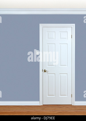 Bedroom wall with door baseboard and crown molding with room for text - Stock Photo & Bedroom wall with door baseboard and crown molding with room for ...
