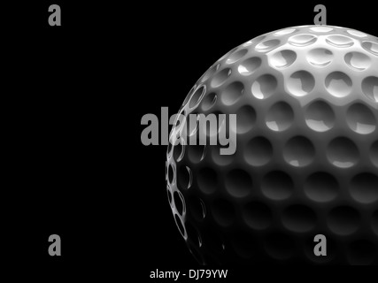 Golf ball on black background (Computer generated image) - Stock Photo