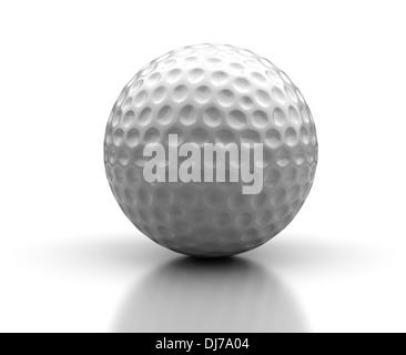 Golf ball on white background (Computer generated image) - Stock Photo