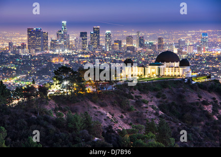 Griffith Obervatory and Downtown Los Angeles, California, USA skyline at dawn. - Stock Photo