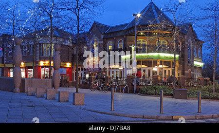 The Looking Glass Pub central Warrington Town Centre, Cheshire, England UK at dusk A JD Wetherspoon house - Stock Photo